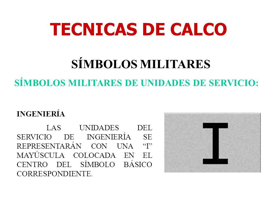 TECNICAS DE CALCO SÍMBOLOS MILITARES SÍMBOLOS MILITARES DE UNIDADES DE SERVICIO: INGENIERÍA LAS UNIDADES DEL SERVICIO DE INGENIERÍA SE REPRESENTARÁN C
