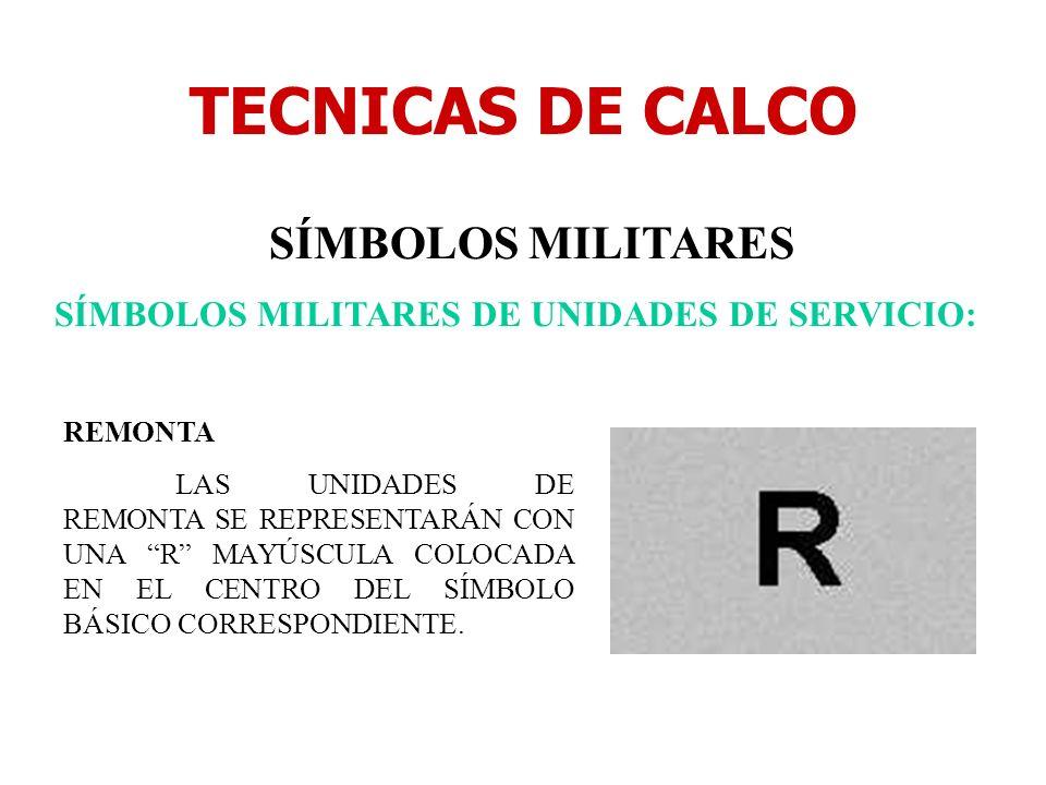 TECNICAS DE CALCO SÍMBOLOS MILITARES SÍMBOLOS MILITARES DE UNIDADES DE SERVICIO: REMONTA LAS UNIDADES DE REMONTA SE REPRESENTARÁN CON UNA R MAYÚSCULA