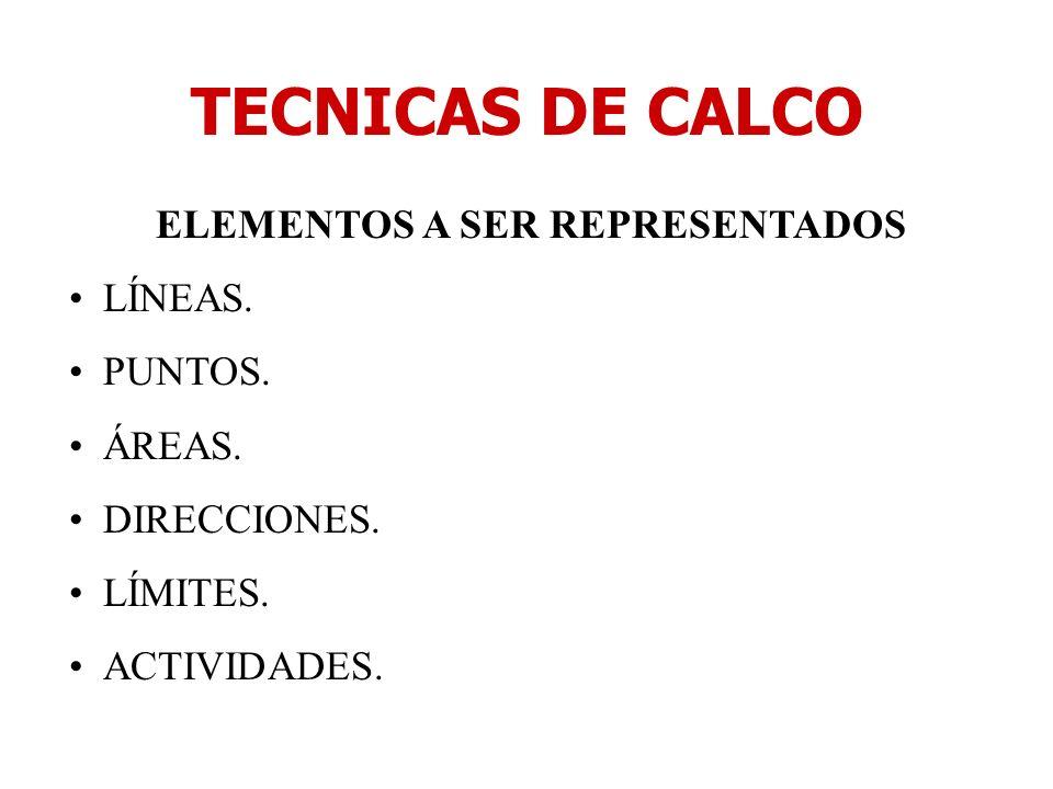 TECNICAS DE CALCO ELEMENTOS A SER REPRESENTADOS LÍNEAS. PUNTOS. ÁREAS. DIRECCIONES. LÍMITES. ACTIVIDADES.