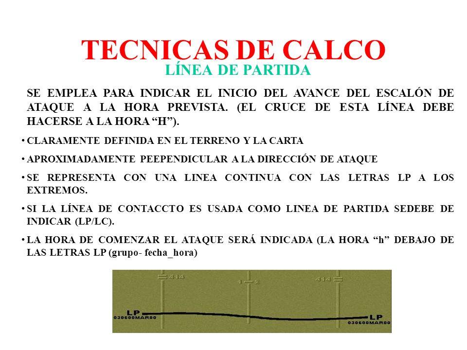 TECNICAS DE CALCO LÍNEA DE PARTIDA SE EMPLEA PARA INDICAR EL INICIO DEL AVANCE DEL ESCALÓN DE ATAQUE A LA HORA PREVISTA. (EL CRUCE DE ESTA LÍNEA DEBE