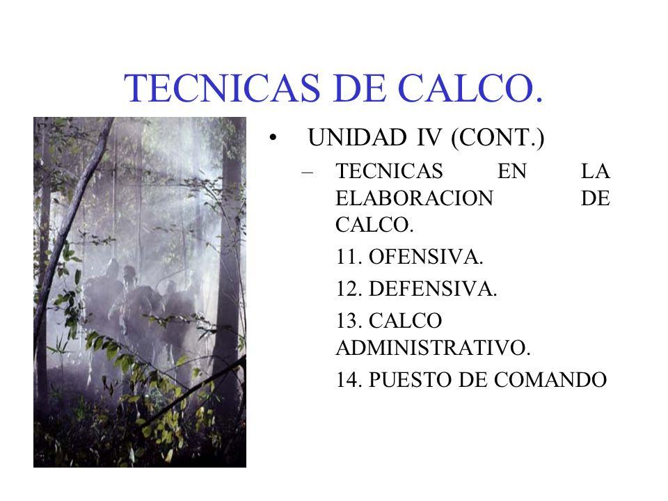 TECNICAS DE CALCO. UNIDAD IV (CONT.) –TECNICAS EN LA ELABORACION DE CALCO. 11. OFENSIVA. 12. DEFENSIVA. 13. CALCO ADMINISTRATIVO. 14. PUESTO DE COMAND