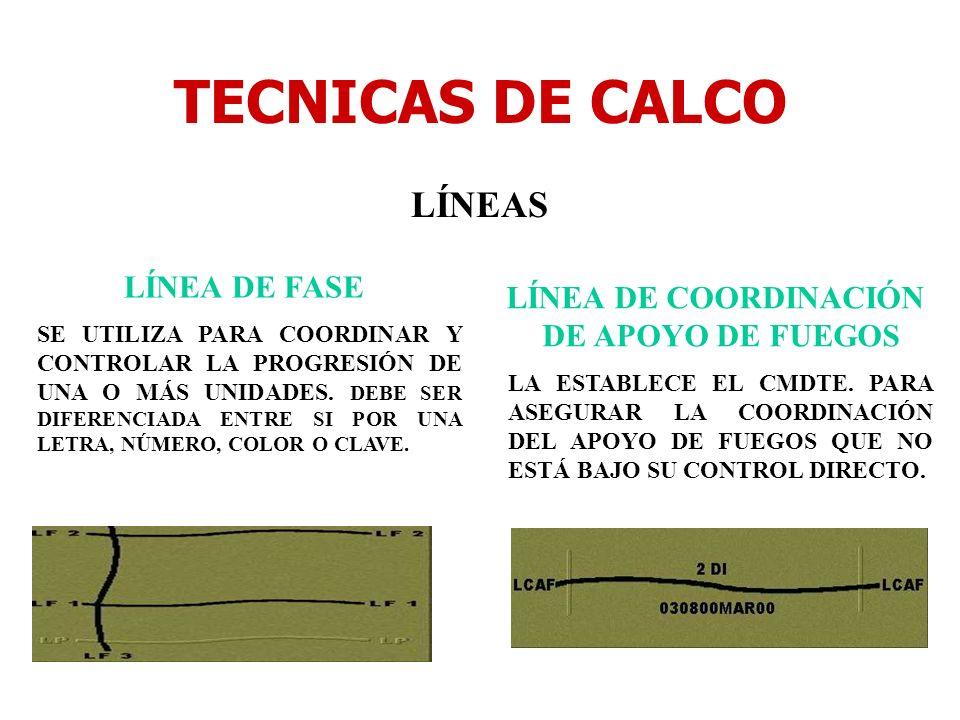TECNICAS DE CALCO LÍNEAS LÍNEA DE FASE SE UTILIZA PARA COORDINAR Y CONTROLAR LA PROGRESIÓN DE UNA O MÁS UNIDADES. DEBE SER DIFERENCIADA ENTRE SI POR U