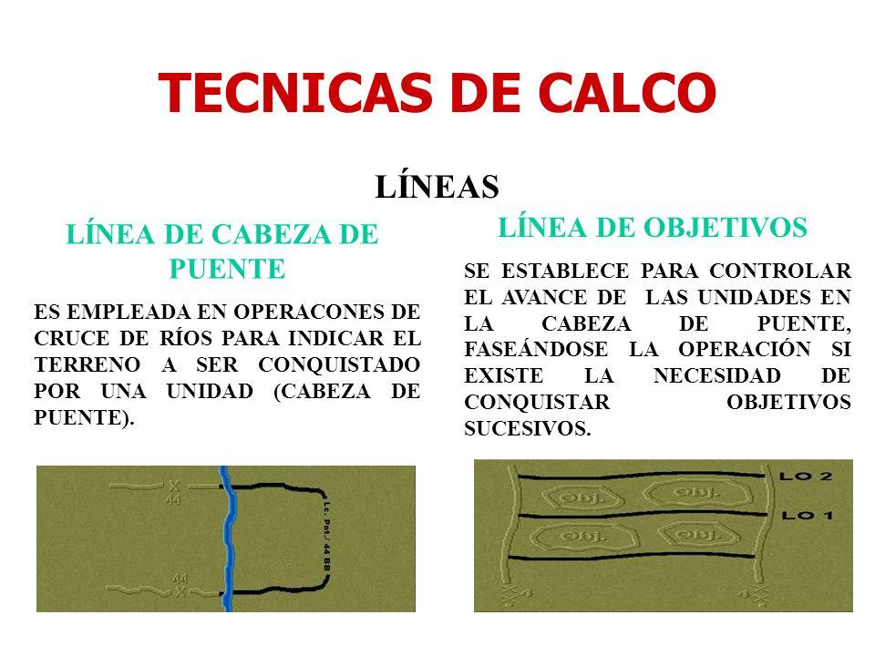 TECNICAS DE CALCO LÍNEAS LÍNEA DE CABEZA DE PUENTE ES EMPLEADA EN OPERACONES DE CRUCE DE RÍOS PARA INDICAR EL TERRENO A SER CONQUISTADO POR UNA UNIDAD
