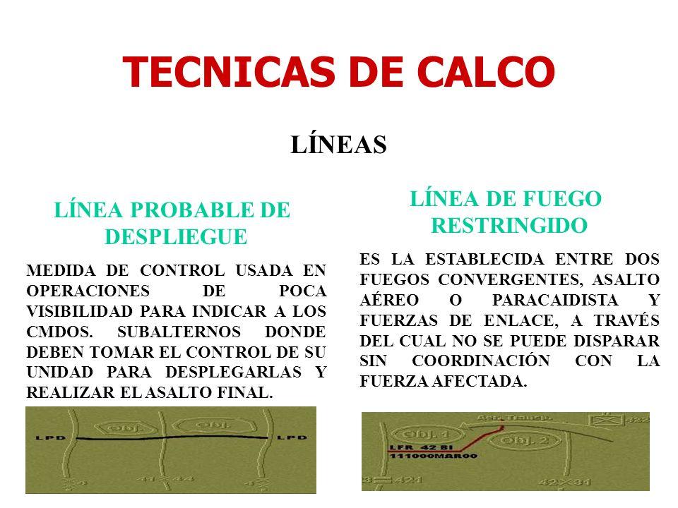 TECNICAS DE CALCO LÍNEAS LÍNEA PROBABLE DE DESPLIEGUE MEDIDA DE CONTROL USADA EN OPERACIONES DE POCA VISIBILIDAD PARA INDICAR A LOS CMDOS. SUBALTERNOS