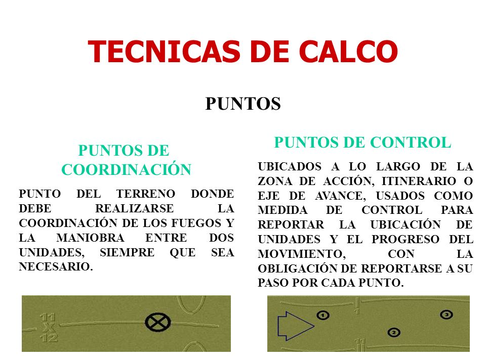 TECNICAS DE CALCO PUNTOS PUNTOS DE COORDINACIÓN PUNTO DEL TERRENO DONDE DEBE REALIZARSE LA COORDINACIÓN DE LOS FUEGOS Y LA MANIOBRA ENTRE DOS UNIDADES