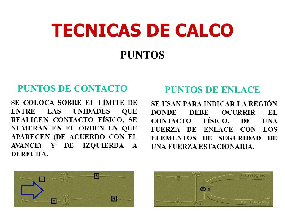 TECNICAS DE CALCO PUNTOS PUNTOS DE CONTACTO SE COLOCA SOBRE EL LÍMITE DE ENTRE LAS UNIDADES QUE REALICEN CONTACTO FÍSICO, SE NUMERAN EN EL ORDEN EN QU