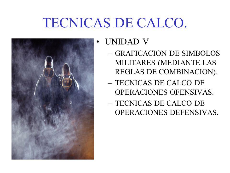 TECNICAS DE CALCO. UNIDAD V –GRAFICACION DE SIMBOLOS MILITARES (MEDIANTE LAS REGLAS DE COMBINACION). –TECNICAS DE CALCO DE OPERACIONES OFENSIVAS. –TEC