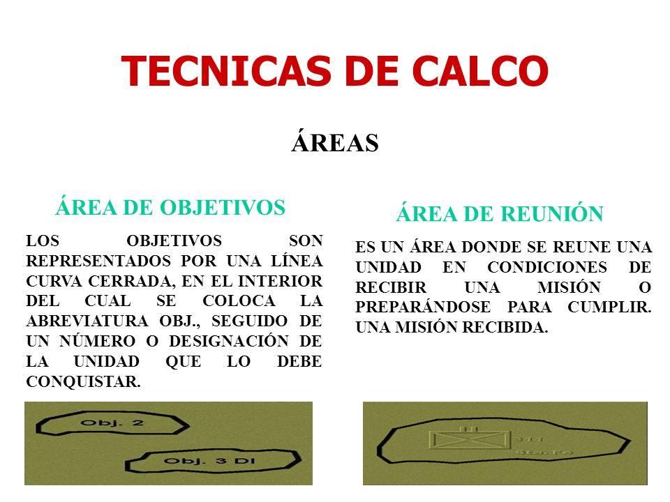 TECNICAS DE CALCO ÁREAS ÁREA DE OBJETIVOS LOS OBJETIVOS SON REPRESENTADOS POR UNA LÍNEA CURVA CERRADA, EN EL INTERIOR DEL CUAL SE COLOCA LA ABREVIATUR
