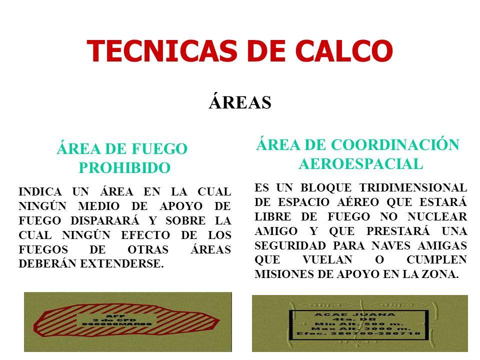 TECNICAS DE CALCO ÁREAS ÁREA DE FUEGO PROHIBIDO INDICA UN ÁREA EN LA CUAL NINGÚN MEDIO DE APOYO DE FUEGO DISPARARÁ Y SOBRE LA CUAL NINGÚN EFECTO DE LO