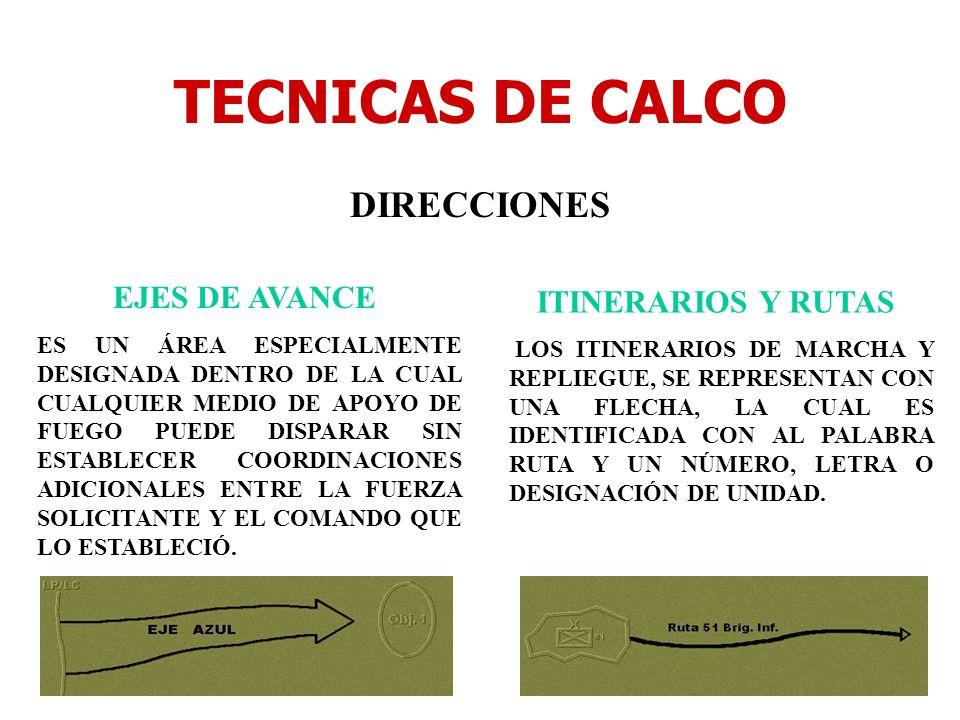 TECNICAS DE CALCO DIRECCIONES EJES DE AVANCE ES UN ÁREA ESPECIALMENTE DESIGNADA DENTRO DE LA CUAL CUALQUIER MEDIO DE APOYO DE FUEGO PUEDE DISPARAR SIN