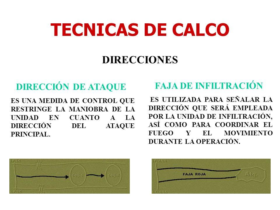 TECNICAS DE CALCO DIRECCIONES DIRECCIÓN DE ATAQUE ES UNA MEDIDA DE CONTROL QUE RESTRINGE LA MANIOBRA DE LA UNIDAD EN CUANTO A LA DIRECCIÓN DEL ATAQUE