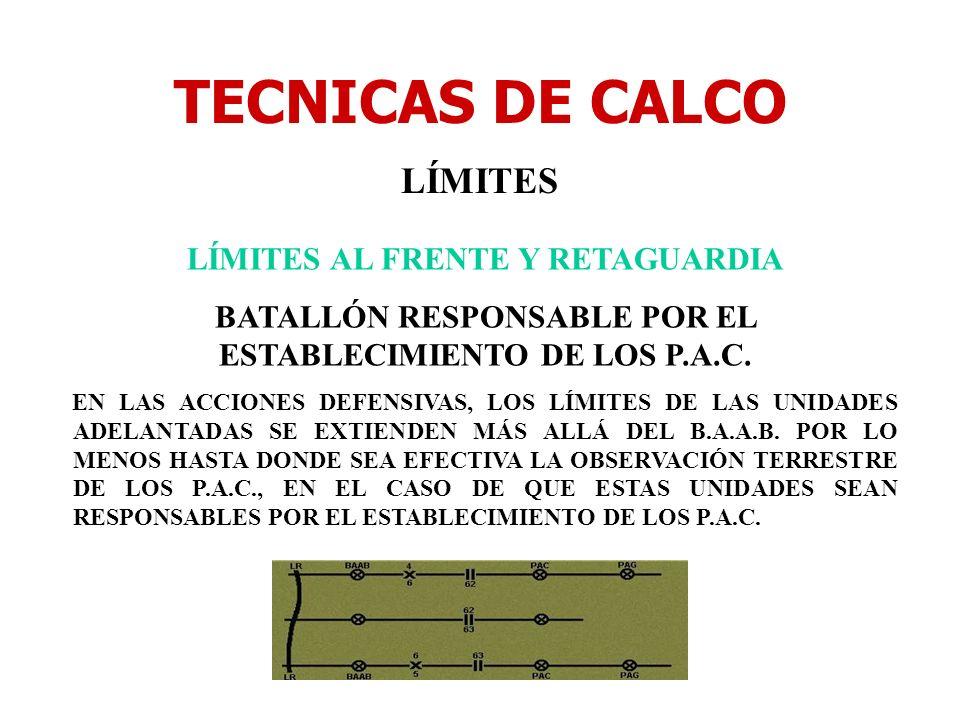 TECNICAS DE CALCO LÍMITES LÍMITES AL FRENTE Y RETAGUARDIA BATALLÓN RESPONSABLE POR EL ESTABLECIMIENTO DE LOS P.A.C. EN LAS ACCIONES DEFENSIVAS, LOS LÍ