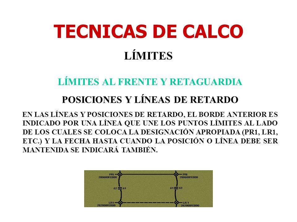 TECNICAS DE CALCO LÍMITES LÍMITES AL FRENTE Y RETAGUARDIA POSICIONES Y LÍNEAS DE RETARDO EN LAS LÍNEAS Y POSICIONES DE RETARDO, EL BORDE ANTERIOR ES I