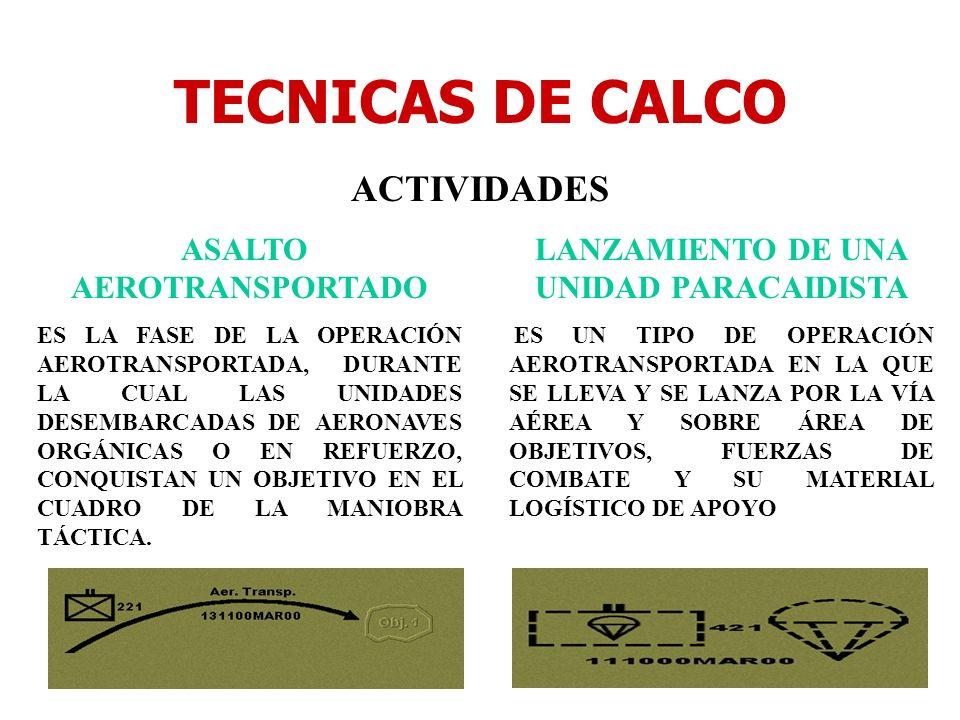 TECNICAS DE CALCO ACTIVIDADES ASALTO AEROTRANSPORTADO ES LA FASE DE LA OPERACIÓN AEROTRANSPORTADA, DURANTE LA CUAL LAS UNIDADES DESEMBARCADAS DE AERON