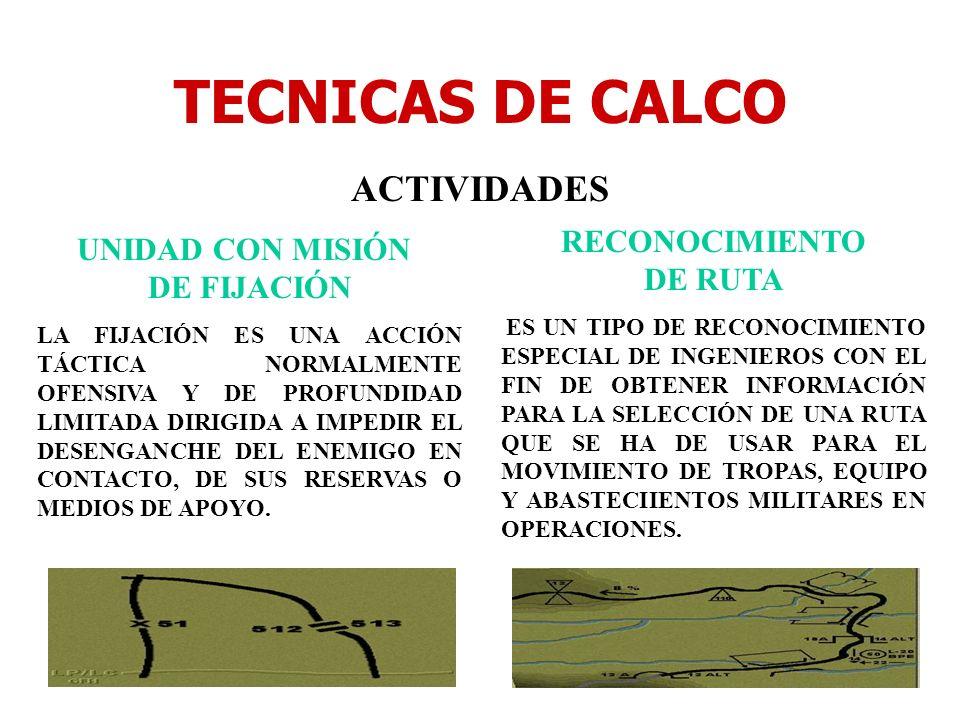 TECNICAS DE CALCO ACTIVIDADES UNIDAD CON MISIÓN DE FIJACIÓN LA FIJACIÓN ES UNA ACCIÓN TÁCTICA NORMALMENTE OFENSIVA Y DE PROFUNDIDAD LIMITADA DIRIGIDA