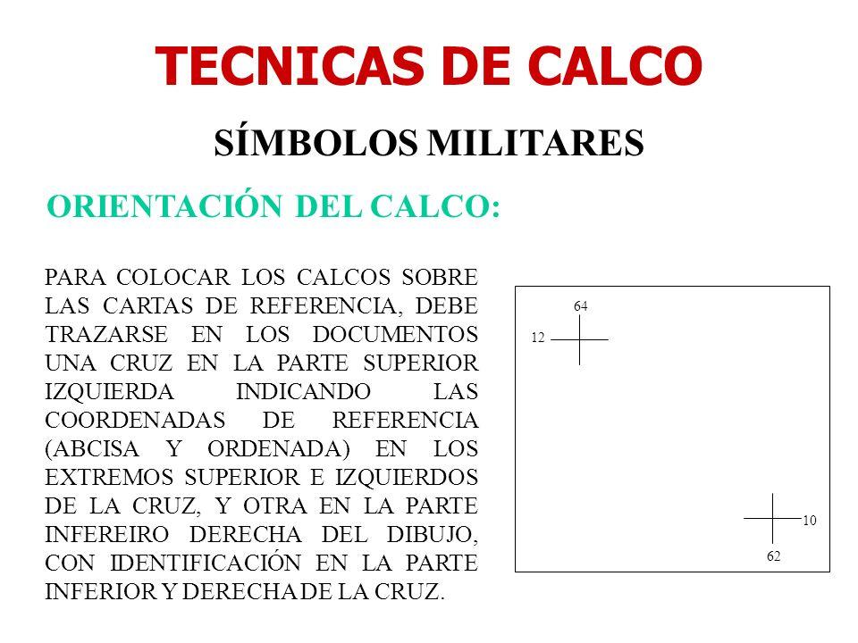 TECNICAS DE CALCO SÍMBOLOS MILITARES ORIENTACIÓN DEL CALCO: PARA COLOCAR LOS CALCOS SOBRE LAS CARTAS DE REFERENCIA, DEBE TRAZARSE EN LOS DOCUMENTOS UN
