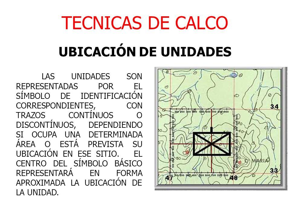 TECNICAS DE CALCO UBICACIÓN DE UNIDADES LAS UNIDADES SON REPRESENTADAS POR EL SÍMBOLO DE IDENTIFICACIÓN CORRESPONDIENTES, CON TRAZOS CONTÍNUOS O DISCO