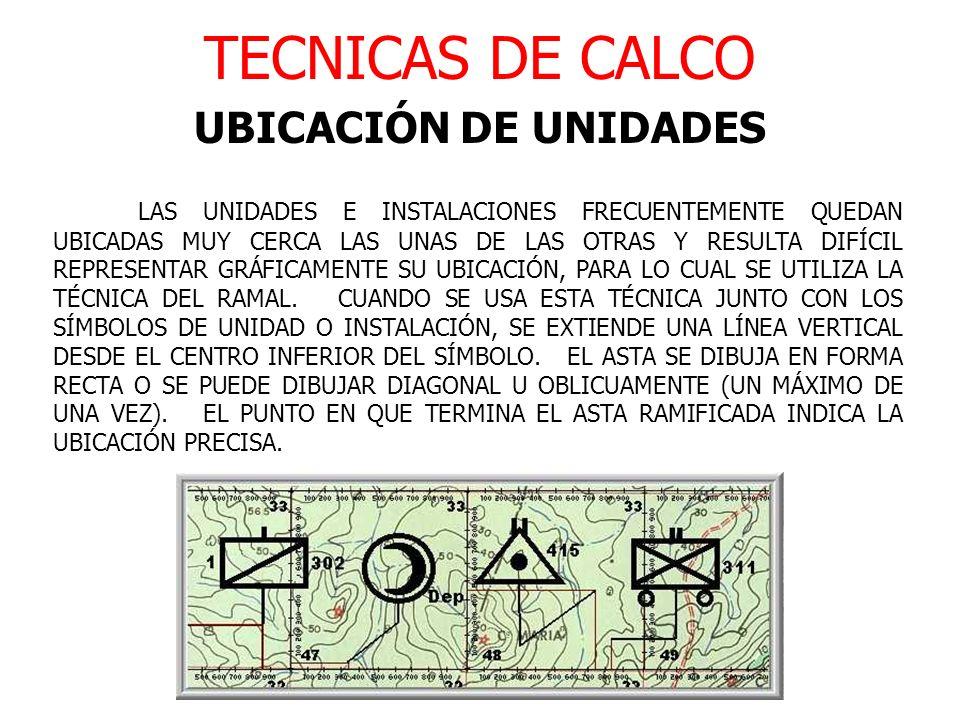 TECNICAS DE CALCO UBICACIÓN DE UNIDADES LAS UNIDADES E INSTALACIONES FRECUENTEMENTE QUEDAN UBICADAS MUY CERCA LAS UNAS DE LAS OTRAS Y RESULTA DIFÍCIL