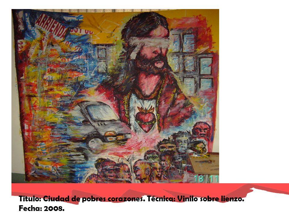 Titulo: Ciudad de locos corazones. Fecha: 2008. Técnica: vinilo sobre lienzo.