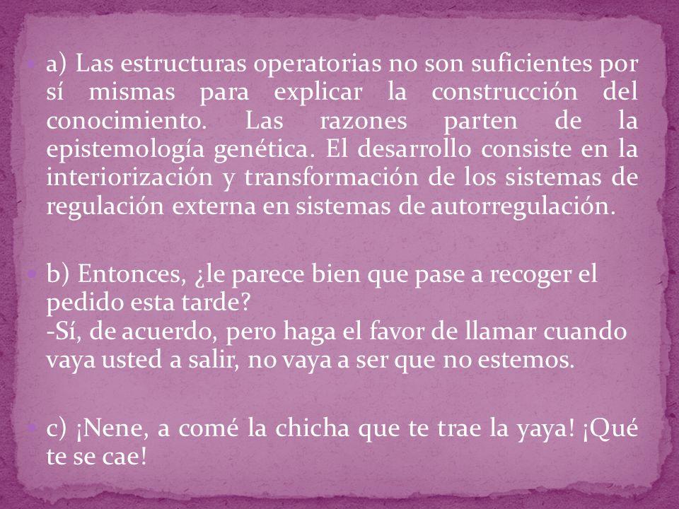 a ) Las estructuras operatorias no son suficientes por sí mismas para explicar la construcción del conocimiento.