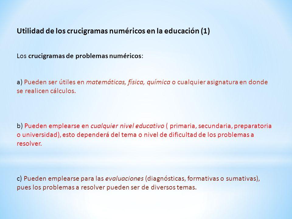 Utilidad de los crucigramas numéricos en la educación (1) Los crucigramas de problemas numéricos: a) Pueden ser útiles en matemáticas, física, química