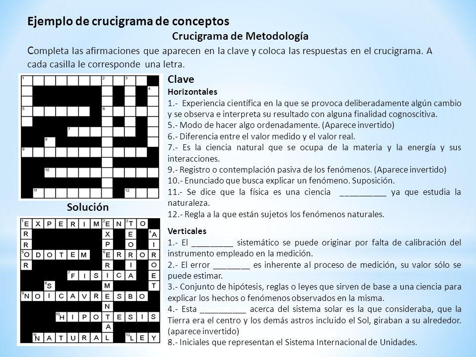 Ejemplo de crucigrama de conceptos Crucigrama de Metodología C ompleta las afirmaciones que aparecen en la clave y coloca las respuestas en el crucigr