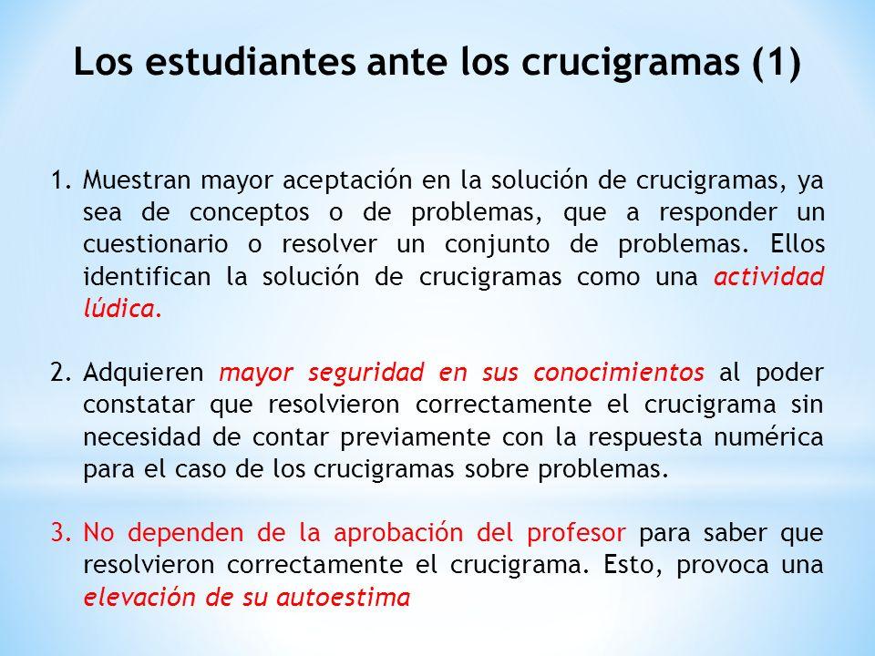 Los estudiantes ante los crucigramas (1) 1.Muestran mayor aceptación en la solución de crucigramas, ya sea de conceptos o de problemas, que a responder un cuestionario o resolver un conjunto de problemas.