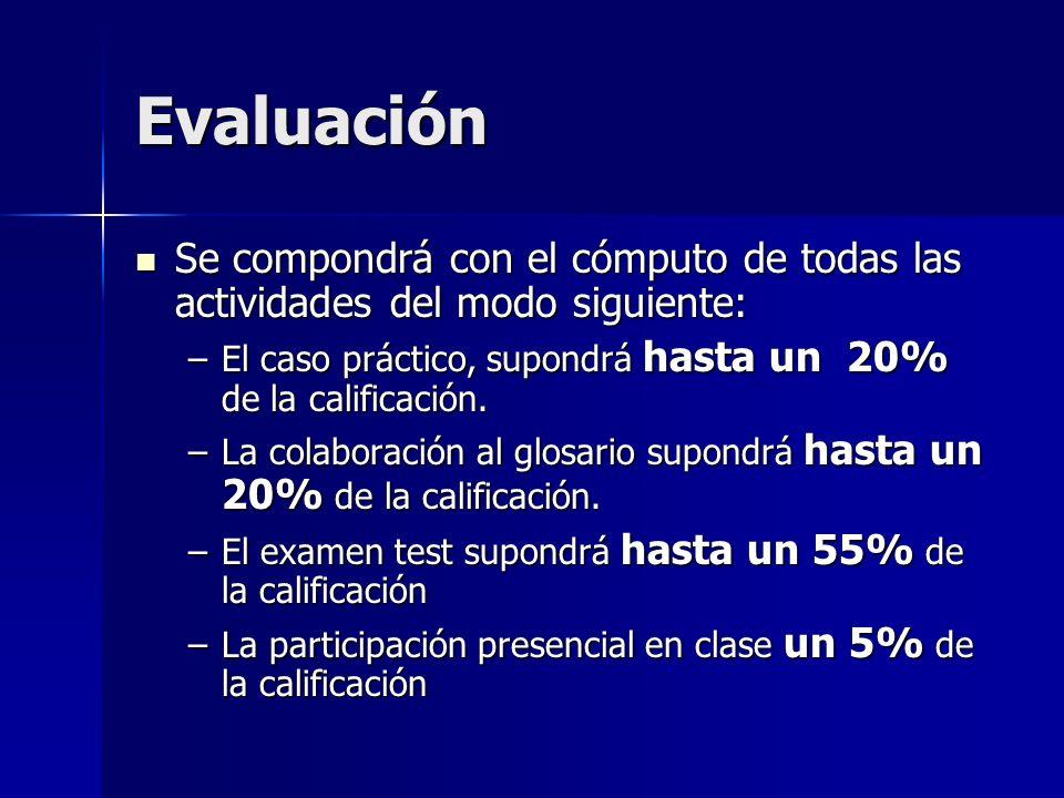 Evaluación Se compondrá con el cómputo de todas las actividades del modo siguiente: Se compondrá con el cómputo de todas las actividades del modo siguiente: –El caso práctico, supondrá hasta un 20% de la calificación.