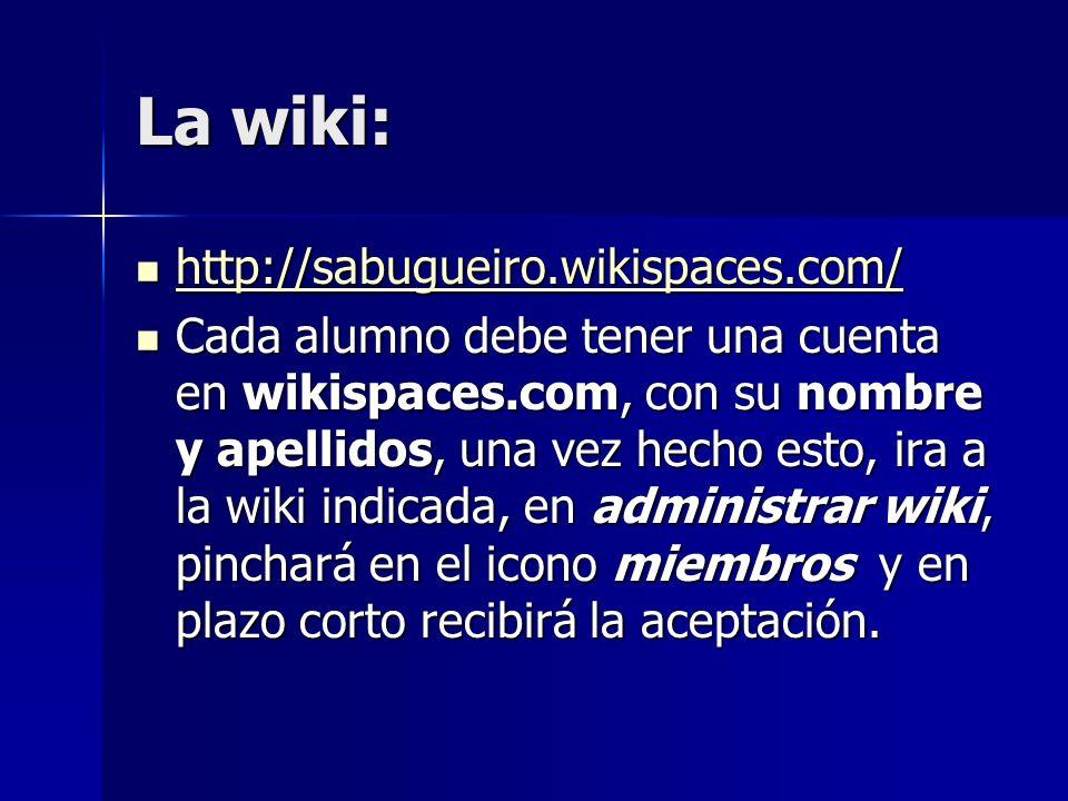 La wiki: http://sabugueiro.wikispaces.com/ http://sabugueiro.wikispaces.com/ http://sabugueiro.wikispaces.com/ Cada alumno debe tener una cuenta en wikispaces.com, con su nombre y apellidos, una vez hecho esto, ira a la wiki indicada, en administrar wiki, pinchará en el icono miembros y en plazo corto recibirá la aceptación.