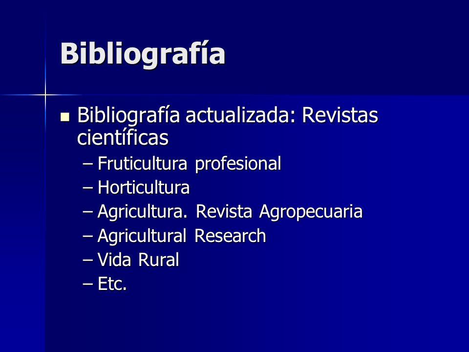 Bibliografía Bibliografía actualizada: Revistas científicas Bibliografía actualizada: Revistas científicas –Fruticultura profesional –Horticultura –Agricultura.