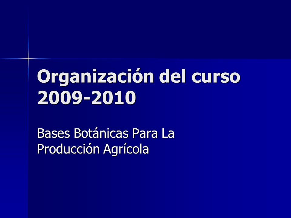 Organización del curso 2009-2010 Bases Botánicas Para La Producción Agrícola