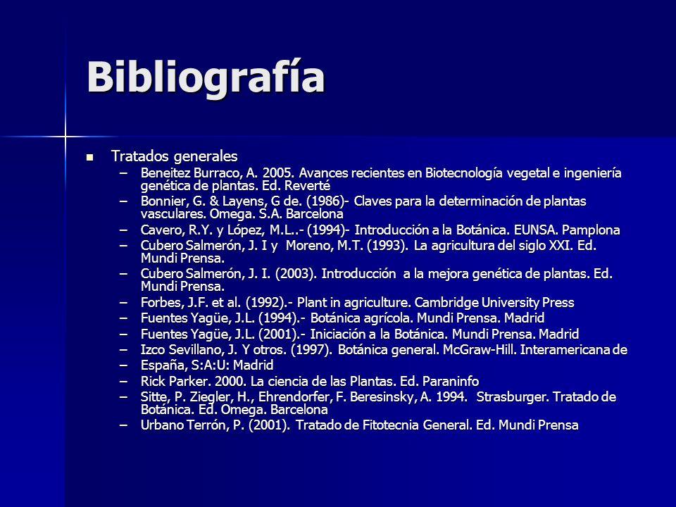 Bibliografía Tratados generales Tratados generales –Beneitez Burraco, A. 2005. Avances recientes en Biotecnología vegetal e ingeniería genética de pla