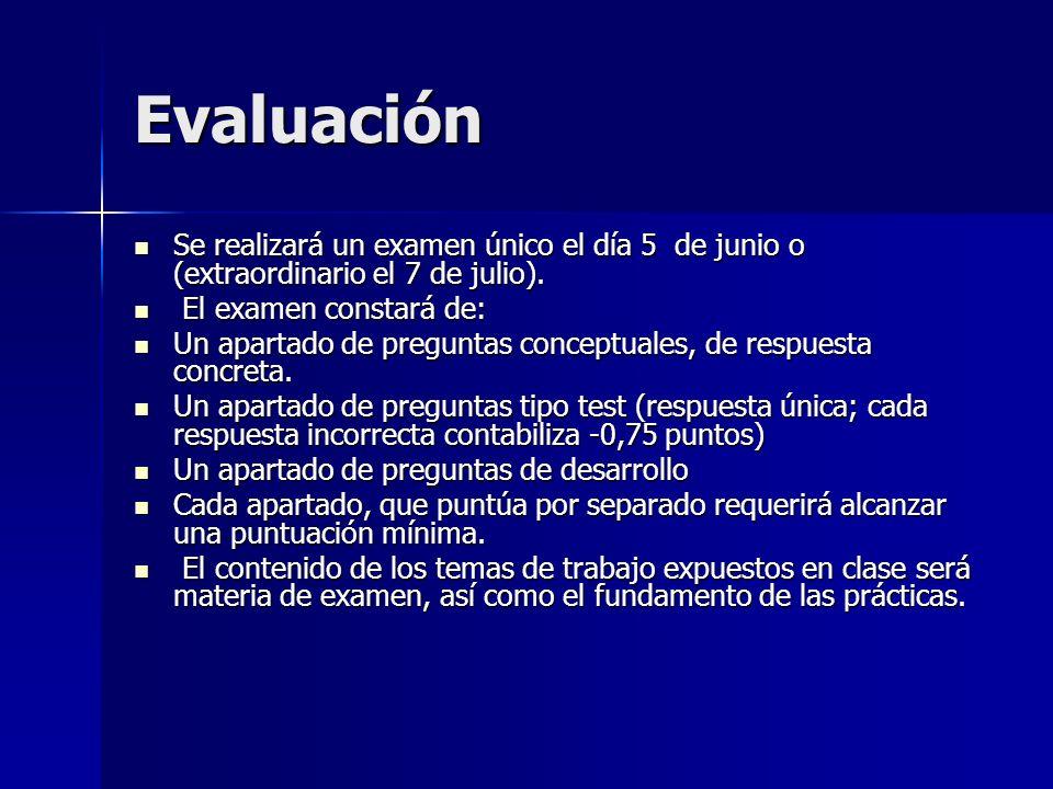 Evaluación Se realizará un examen único el día 5 de junio o (extraordinario el 7 de julio). Se realizará un examen único el día 5 de junio o (extraord