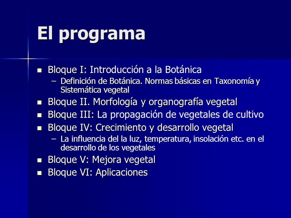 El programa Bloque I: Bloque I: Introducción a la Botánica –Definición de Botánica. Normas básicas en Taxonomía y Sistemática vegetal Bloque II. Morfo