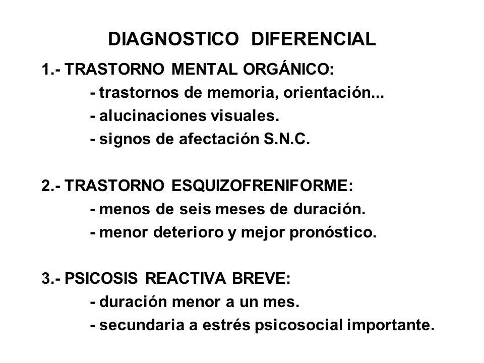DIAGNOSTICO DIFERENCIAL 1. TRASTORNO MENTAL ORGÁNICO: trastornos de memoria, orientación... alucinaciones visuales. - signos de afectación S.N.C. 2. T