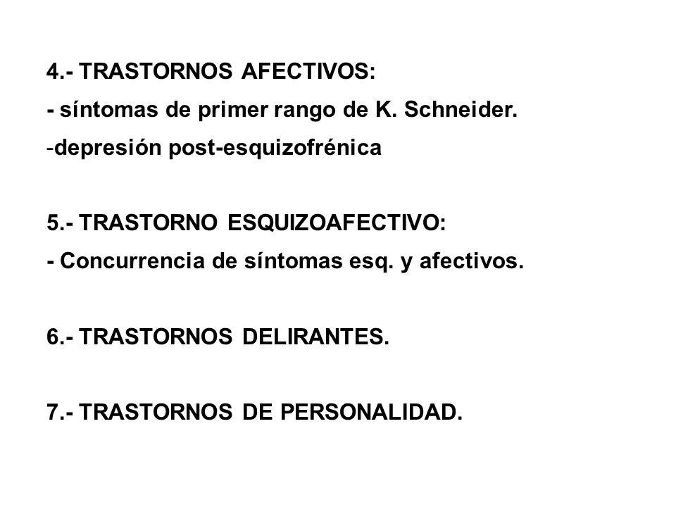 4. TRASTORNOS AFECTIVOS: síntomas de primer rango de K. Schneider. -depresión post esquizofrénica 5. TRASTORNO ESQUIZOAFECTIVO: Concurrencia de síntom