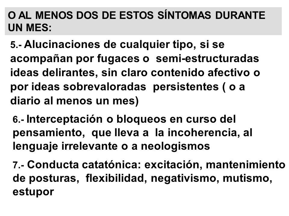 DIAGNOSTICO DIFERENCIAL 1.TRASTORNO MENTAL ORGÁNICO: trastornos de memoria, orientación...