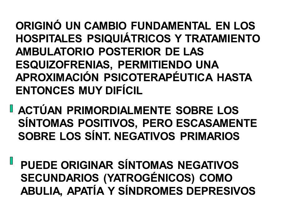 ORIGINÓ UN CAMBIO FUNDAMENTAL EN LOS HOSPITALES PSIQUIÁTRICOS Y TRATAMIENTO AMBULATORIO POSTERIOR DE LAS ESQUIZOFRENIAS, PERMITIENDO UNA APROXIMACIÓN