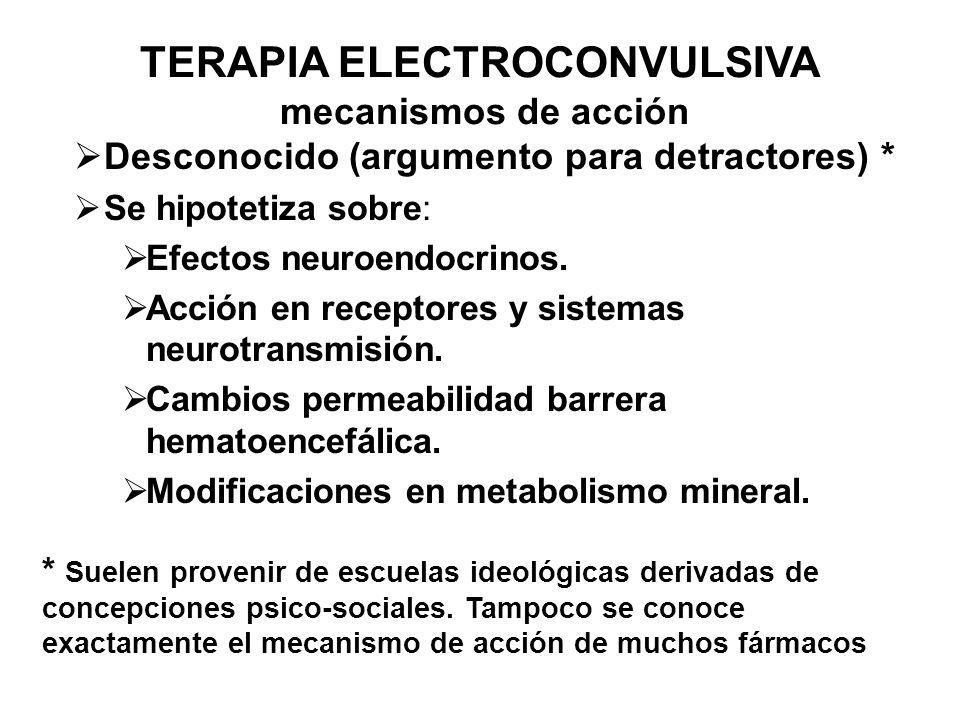 TERAPIA ELECTROCONVULSIVA mecanismos de acción Desconocido (argumento para detractores) * Se hipotetiza sobre: Efectos neuroendocrinos. Acción en rece