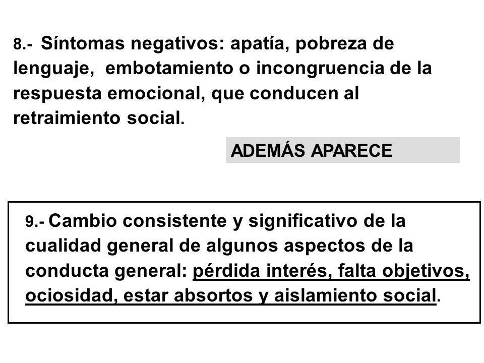 8.- Síntomas negativos: apatía, pobreza de lenguaje, embotamiento o incongruencia de la respuesta emocional, que conducen al retraimiento social. 9.-