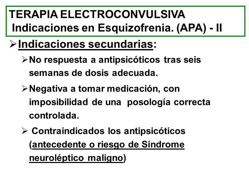 Indicaciones secundarias: No respuesta a antipsicóticos tras seis semanas de dosis adecuada. Negativa a tomar medicación, con imposibilidad de una pos
