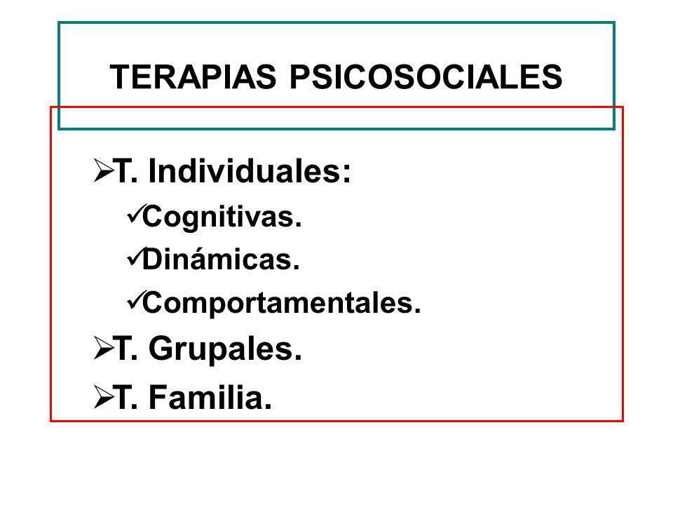TERAPIAS PSICOSOCIALES T. Individuales: Cognitivas. Dinámicas. Comportamentales. T. Grupales. T. Familia.