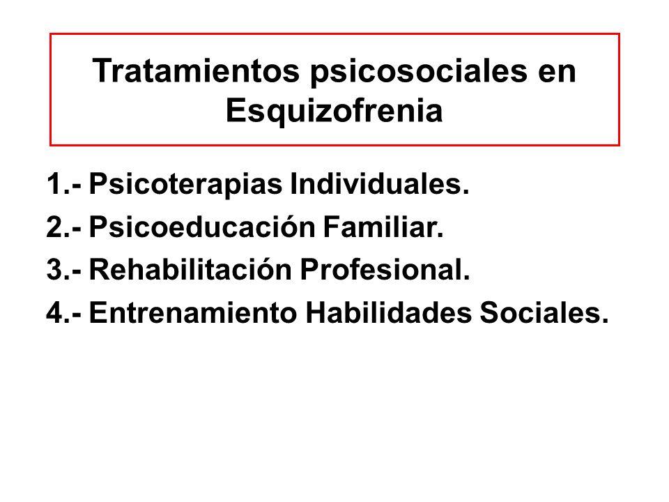 Tratamientos psicosociales en Esquizofrenia 1.- Psicoterapias Individuales. 2.- Psicoeducación Familiar. 3.- Rehabilitación Profesional. 4.- Entrenami
