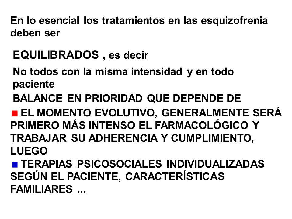 En lo esencial los tratamientos en las esquizofrenia deben ser EQUILIBRADOS, es decir No todos con la misma intensidad y en todo paciente BALANCE EN P