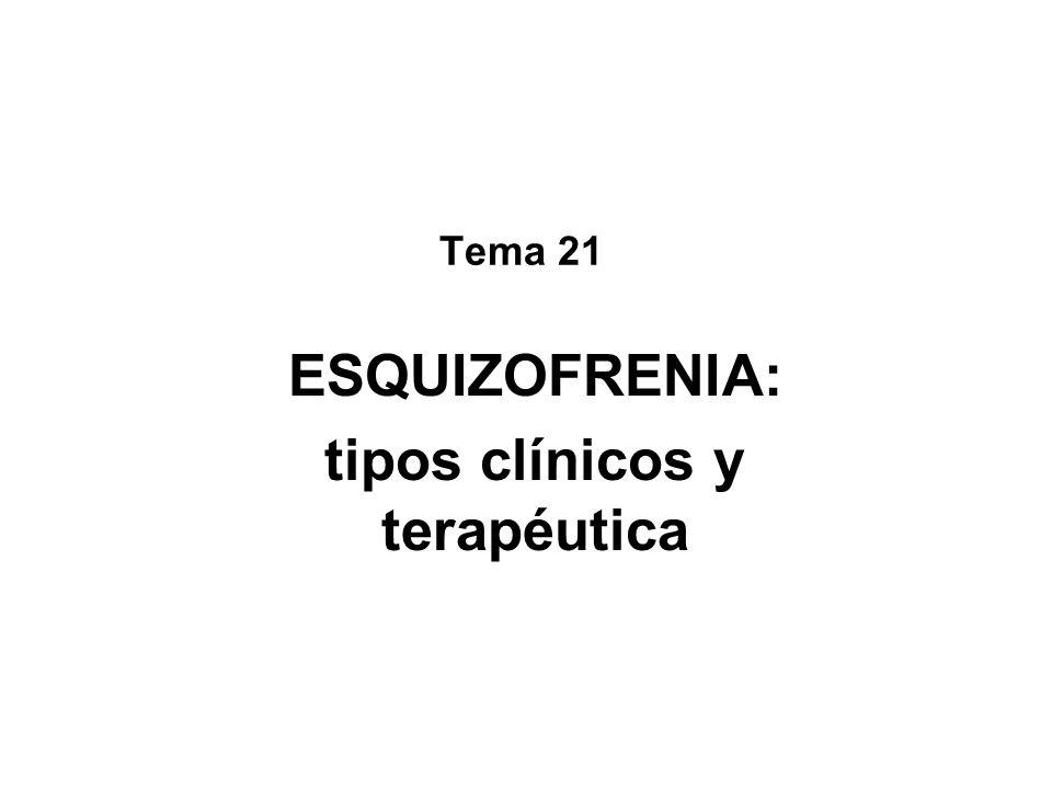 Clásicos o típicos: Clorpromacina (Largactil) Butirofenonas (Haloperidol) Levomepromacina (Sinogan) Trifluoperazina (Eskazine) Y otros Atípicos o nueva generación: Clozapina (Leponex) (1993) Risperidona (Risperdal) (1994) Olanzapina (Zyprexa) (1997) Quetiapina (Seroquel) (2001) Amisulpiride (Solian) (2002) Ziprasidona (Zeldox) (2003) Aripiprazol (Abilify) (2004) Paliperidona (Invega) (2008) Tipos de antipsicóticos