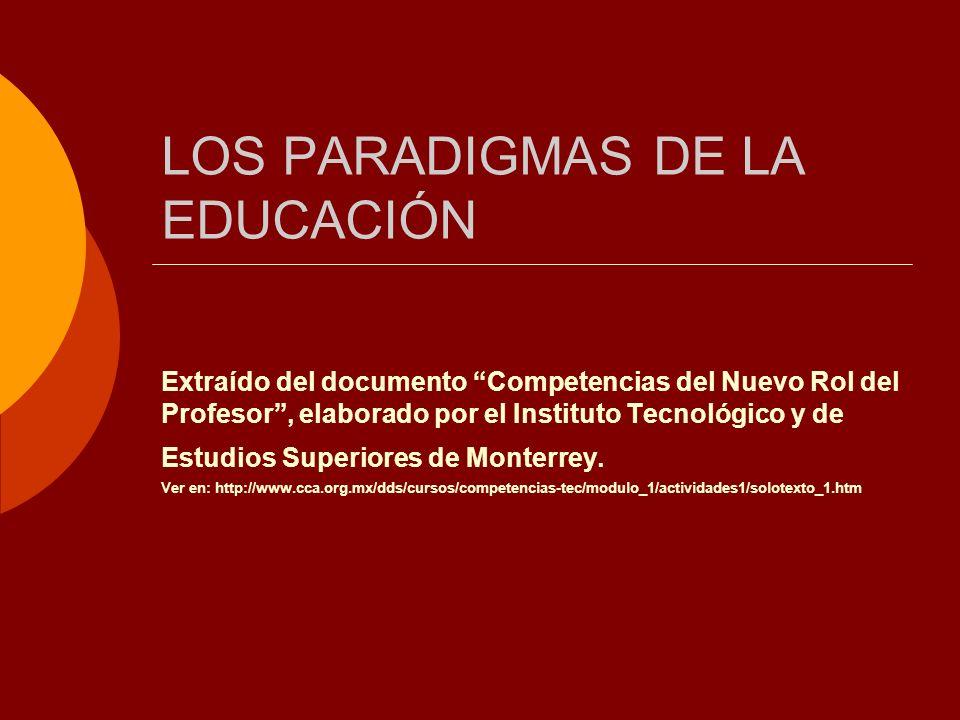 LOS PARADIGMAS DE LA EDUCACIÓN Extraído del documento Competencias del Nuevo Rol del Profesor, elaborado por el Instituto Tecnológico y de Estudios Su