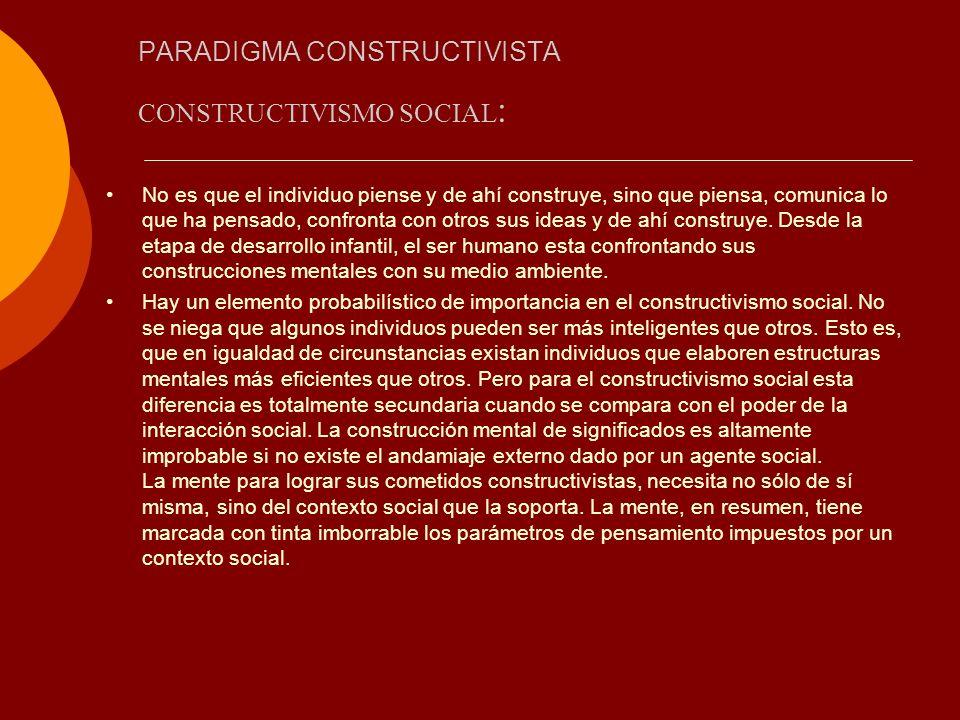 PARADIGMA CONSTRUCTIVISTA CONSTRUCTIVISMO SOCIAL : No es que el individuo piense y de ahí construye, sino que piensa, comunica lo que ha pensado, conf