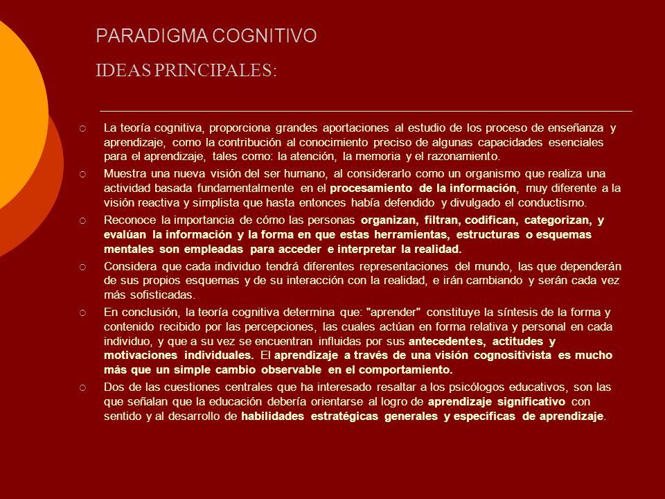PARADIGMA COGNITIVO La teoría cognitiva, proporciona grandes aportaciones al estudio de los proceso de enseñanza y aprendizaje, como la contribución a