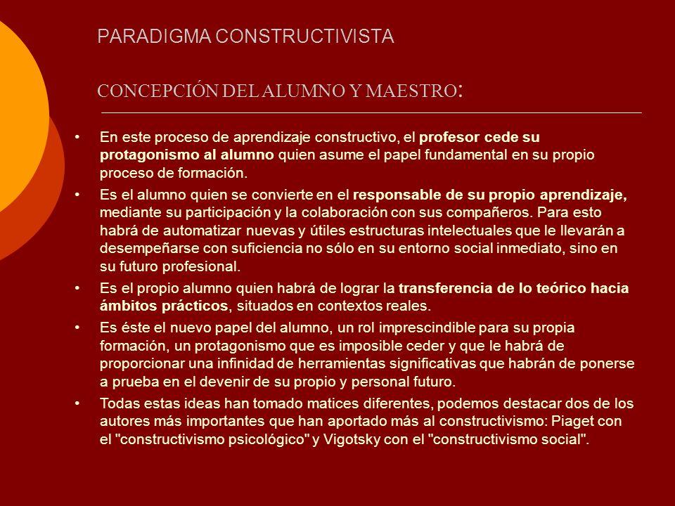 PARADIGMA CONSTRUCTIVISTA CONCEPCIÓN DEL ALUMNO Y MAESTRO : En este proceso de aprendizaje constructivo, el profesor cede su protagonismo al alumno qu