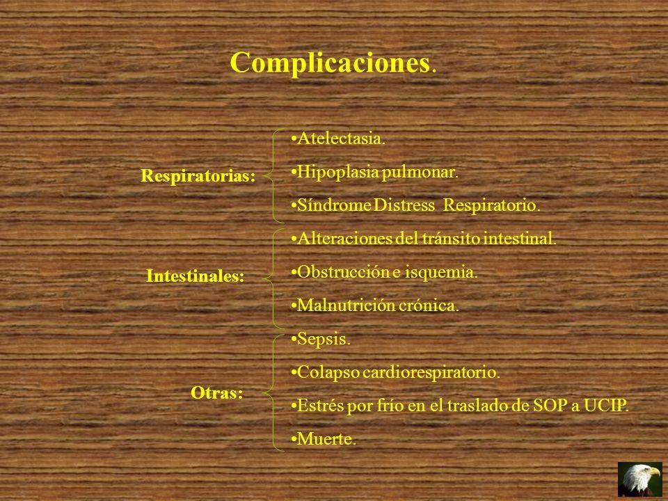 Complicaciones. Atelectasia. Hipoplasia pulmonar. Síndrome Distress Respiratorio. Alteraciones del tránsito intestinal. Obstrucción e isquemia. Malnut